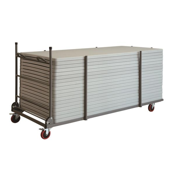 COSCO Commercial 72-inch Rectangular Heavy Duty Blow Mold 20-pack Brown Tables with Trolley Bundle