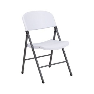 Offex Hercules Series White Plastic Folding Chair with Charcoal Frame
