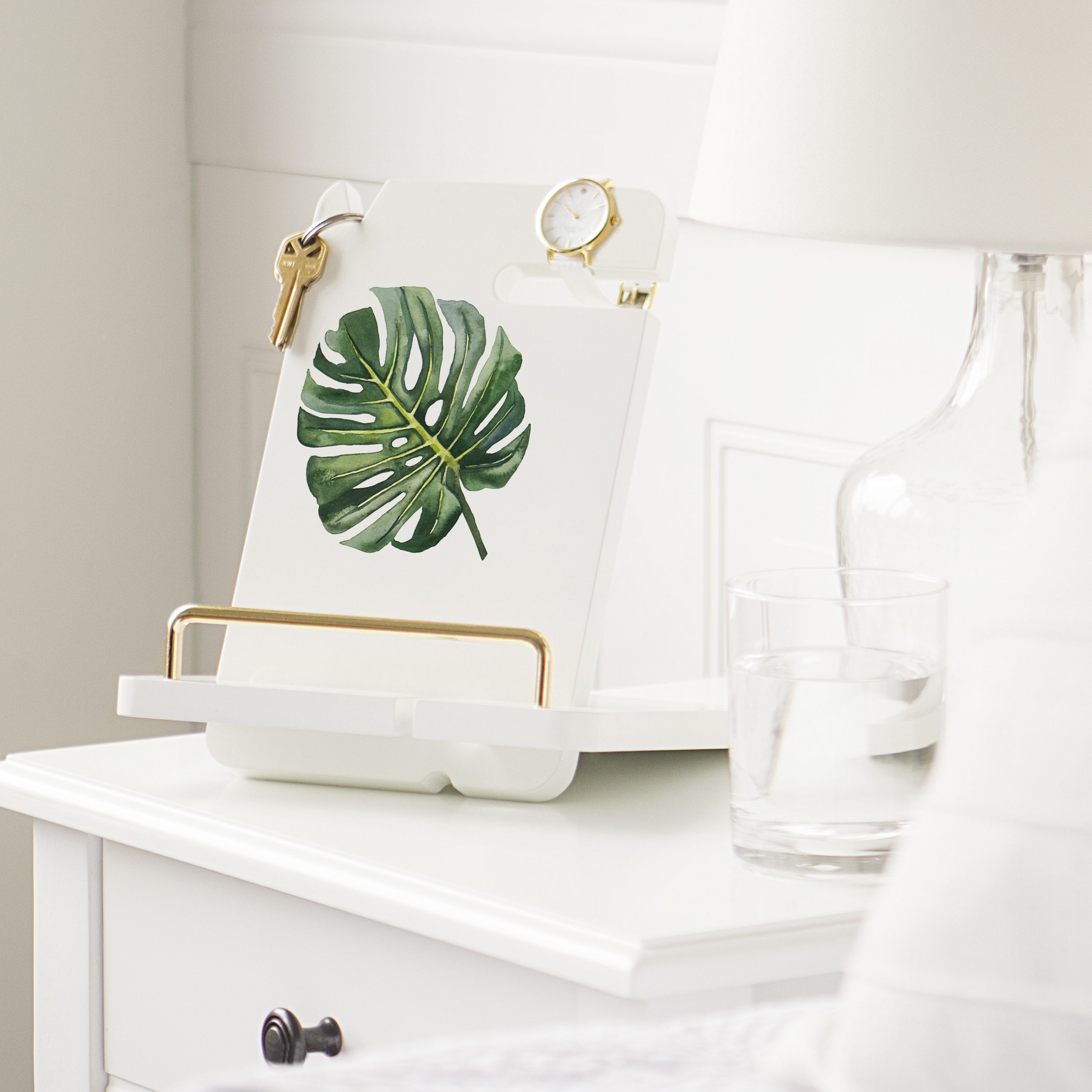 Cathy's Concepts Palm Leaf White Lacquer Docking Station ...