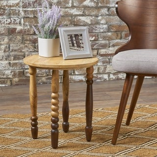 Athenais Mango Wood Round End Table by Christopher Knight Home