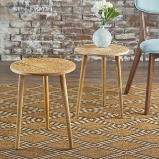 Ingrid Solid Mango Wood Round End Table (Set of 2) by Christopher Knight Home (Brown)
