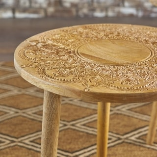 Ingrid Mango Wood Round End Table (Set of 2) by Christopher Knight Home