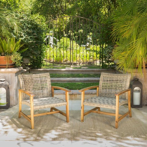 Hampton Outdoor Mid Century Wicker Club Chair Set Of 2 By Christopher Knight Home