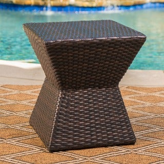 Calhoun Outdoor Square Wicker Side Table By Christopher Knight Home