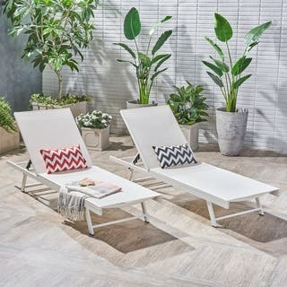 Salton Outdoor Aluminum Chaise Lounge Set Of 2 By Christopher Knight Home
