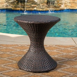 Franklin Outdoor Round Wicker Side Table by Christopher Knight Home
