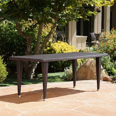 Dominica Outdoor 73.5-inch Rectangular Wicker Dining Table by Christopher Knight Home