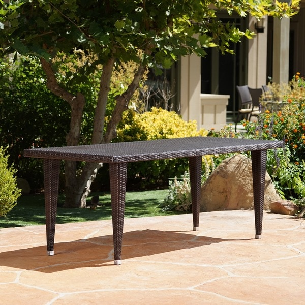 Dominica Outdoor 75-inch Rectangular Wicker Dining Table. Opens flyout.