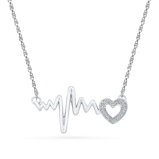 Sterling Silver White Round Diamond HeartBeat necklace - White I-J