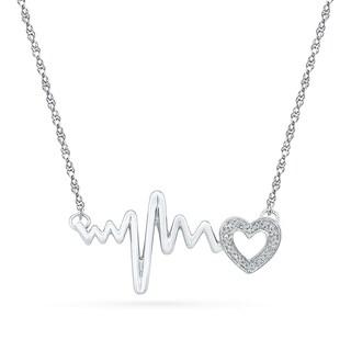 Sterling Silver White Round Diamond HeartBeat necklace - White I-J