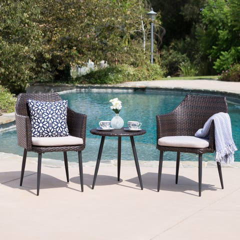 Iona Outdoor 3-Piece Round Wicker Chat Set with Cushions by Christopher Knight Home
