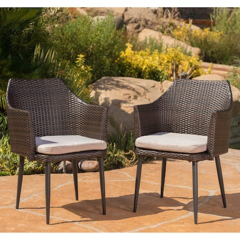 Iona Outdoor Wicker Dining Chair with Cushion (Set of 2) by Christopher Knight Home