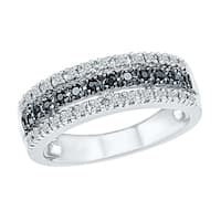 Sterling Silver Round Diamond Black and White Anniversary Ring - White I-J