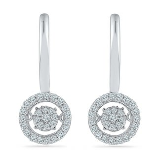Sterling Silver Round Diamond In Motion Fashion Earring - White I-J