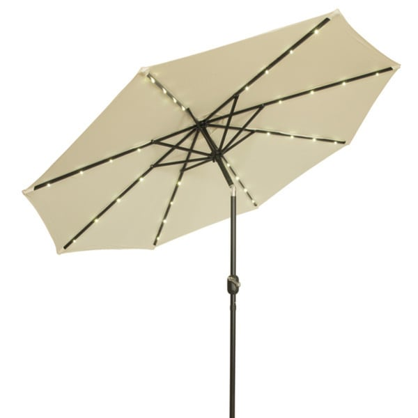 9 Foot Steel Deluxe Solar Ed Led Lighted Patio Market Umbrella By Direct Wicker Click To Zoom