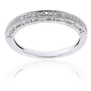 10k White Gold 1/10ct TDW Diamond Anniversary Band by Miadora