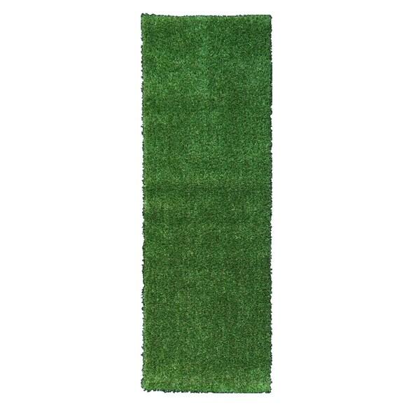 Berrnour Home Indoor/Outdoor Green Artificial Grass Runner Rug 3'x10'