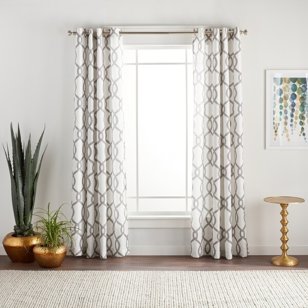 "ATI Home Kochi Linen Blend Grommet-top Curtain Panel Pair 108"" in Black Pearl (As Is Item)"