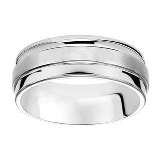 Cambridge 8MM White Tungsten Men S Band