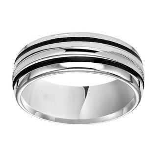 Cambridge 8mm White Tungsten With Black Line Band