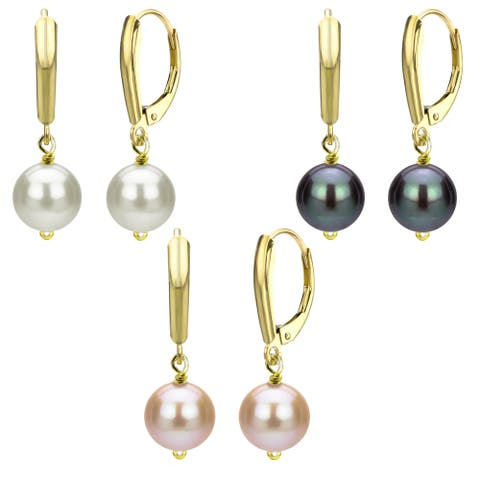DaVonna 18kt Gold over Silver 9-10mm Freshwater Pearl Three-Pair Lever Back Earring Set