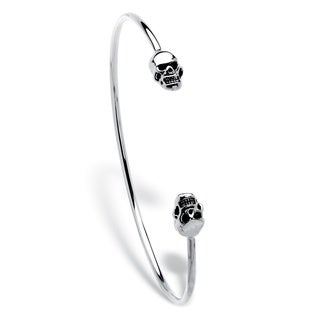 "Polished Twin Skulls Cuff Bangle Bracelet Platinum-Plated 7.5"" Bold Fashion"