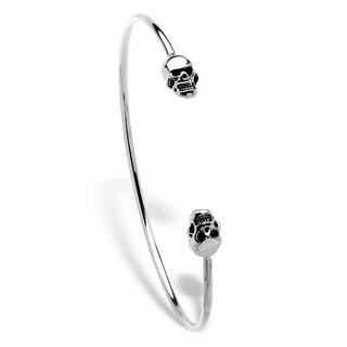 "Polished Twin Skulls Cuff Bangle Bracelet Platinum-Plated 7.5"" Bold Fashion"
