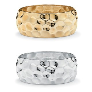 "Yellow Gold Tone and Silvertone Wide Hammered-Style Bangle Bracelet 2-Piece Set 9"" Bold Fashion"