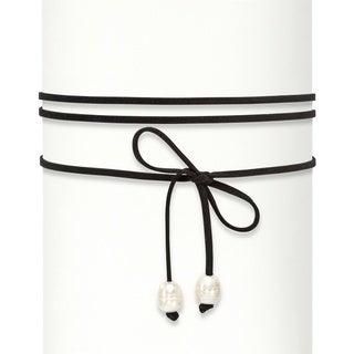 "Genuine Cultured Freshwater Pearl Wraparound Black Leather Choker Necklace 60"" Bold Fashion"