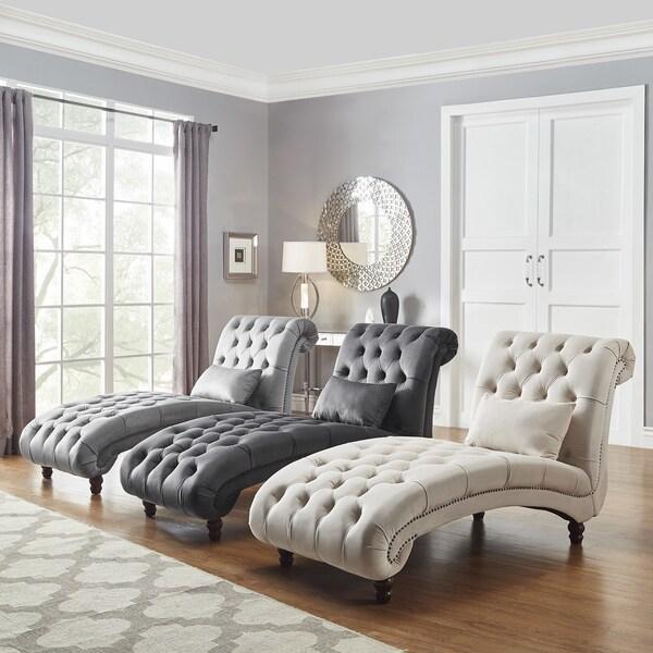 Shop Knightsbridge Tufted Oversized Velvet Chaise Lounge by