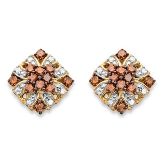 3/8 TCW Red and White Diamond Stud Earrings in 14k Yellow Gold and Brown over Silver