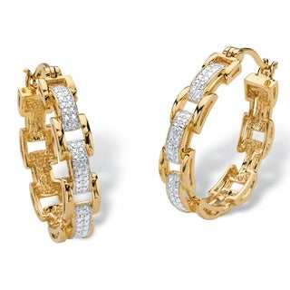 """Diamond Accent Pave-Style Two-Tone Bar-Link Hoop Earrings 18k Yellow Gold-Plated (1"""")"""