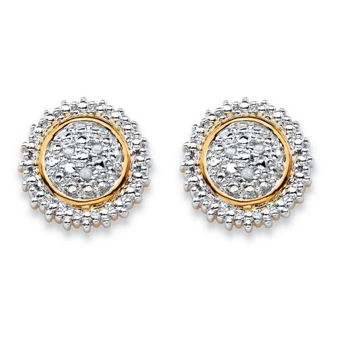 Yellow Gold-Plated Stud Earrings (11x11mm) Genuine Diamond Accent