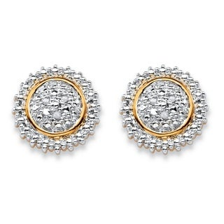 Round White Diamond Accent Pave-Style Two-Tone Cluster Stud Earrings Gold-Plated