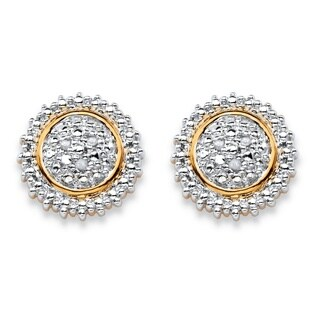 Round White Diamond Accent Pave-Style Two-Tone Cluster Stud Earrings 18k Gold-Plated