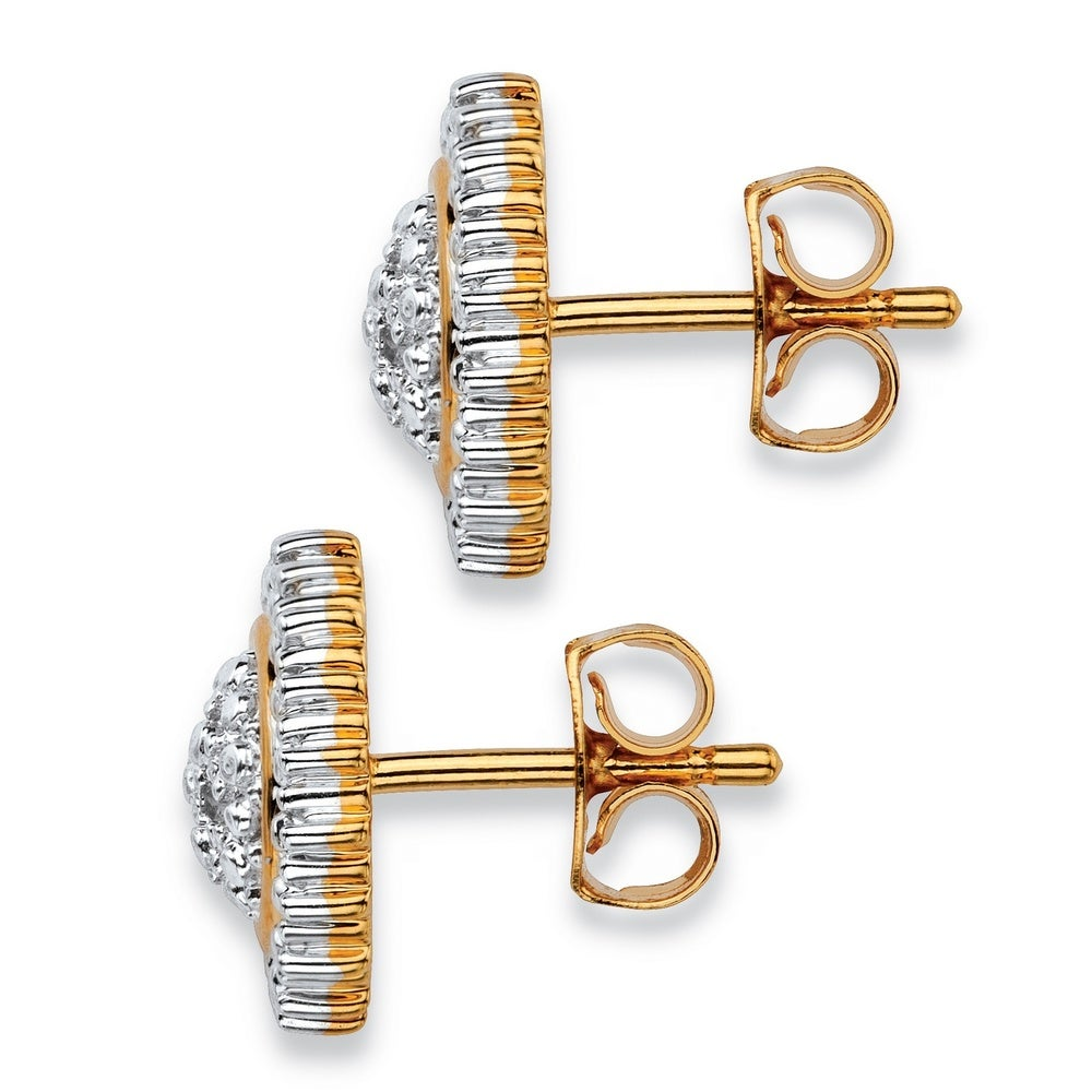 Shop Yellow Gold-Plated Stud Earrings (11x11mm) Genuine Diamond Accent - Overstock - 16985983