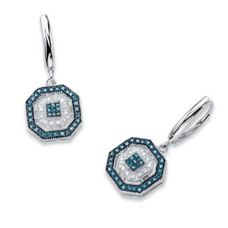 3/8 TCW Blue and White Diamond Octagon Lever Back Drop Earrings in Platinum over Silver