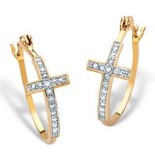 "White Diamond Accent Two-Tone Cross Hoop Earrings Gold-Plated (1.25"")"
