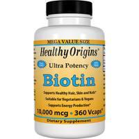 Healthy Origins Biotin 10,000 mcg (360 Veggie Capsules)