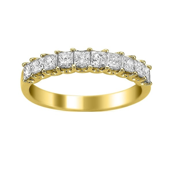 Montebello Jewelry 14k Yellow Gold 1ct TDW Princess-cut Wedding Band (H-I, I1-I2) - White H-I