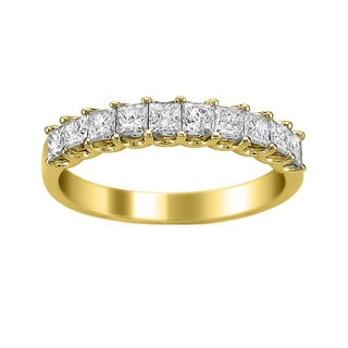 Montebello Jewelry 14k Yellow Gold 1ct TDW Princess-cut Wedding Band (H-I, I1-I2) - White H-I