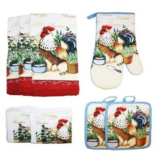 J & M Home Fashions Printed Kitchen Towel and Pot Holders Set - 8 Pc.