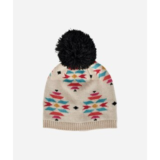 San Diego Hat Company 2-4 Toddler Pattern Beanie W/ Pom-Cream