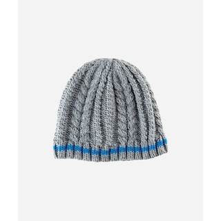 San Diego Hat Company 4-6 Kid Cable Knit Beanie With Color Contrast Stripe-Grey-Large