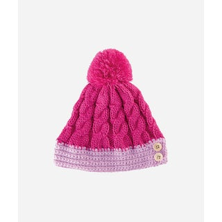 San Diego Hat Company 8-12 Youth Cable Knit Beanie With Sude Buttons And Pom-Hot Pink-Xlarge