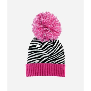 San Diego Hat Company 4-6 Kid Oversized Beanie With Pom And Cuff-Hot Pink-Large