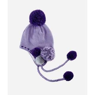 San Diego Hat Company 2-4 Toddler Fine Knit Trapper With Pom Poms-Lavender-Small