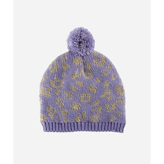 San Diego Hat Company 2-4 Toddler Fine Knit Leopard Intarsia Beanie With Fleece Lining And Pom-Lavender-Small