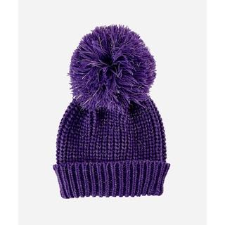 San Diego Hat Company 8-12 Youth Slouchy Beanie With Oversized Pom-Purple-Xlarge