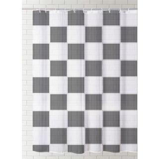 J & M Home Fashions Printed Vinyl Shower Curtain -  Check